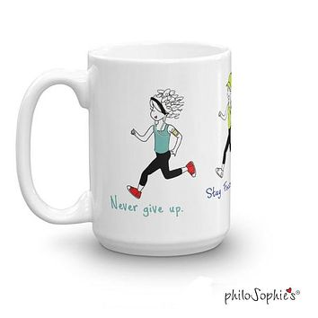 Never Give Up. Runner Mug - Non personalized
