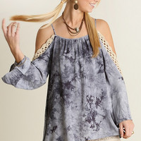 Umgee USA Grey Cold Shoulder Top