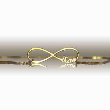 small 1'' infinity necklace gold plated | personalized name infinity jewelry