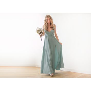 Sage green thin strap maxi wrap dress with slit 1060