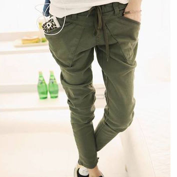 Skinny Pencil Pants Fashion Women Casual Stretchable Feet Pants with Special Pockets PE3128*35