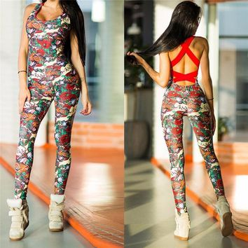 Women Fitness Yoga Jumpsuit Sports Floral Backless Sportswear