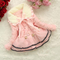 Lovely Baby Cute Kids Girls Tutu Fleece Faux Fur Warm Jacket Girls Winter Coat  SV011328|27701 = 1932180100