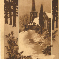 Antique Postcard Winter Church Scene in Sienne - Christmas - 1911 - 100 years old