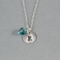 CUSTOM - Hand Stamped Disc Necklace, Initial Letter on Sterling Silver Disc, Personalized Necklace, FREE Birthstone
