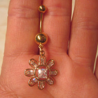 Navel Belly Button Ring Navel Clear Crystal Flower Rhinestones Gold Tone Barbell Naval Bling