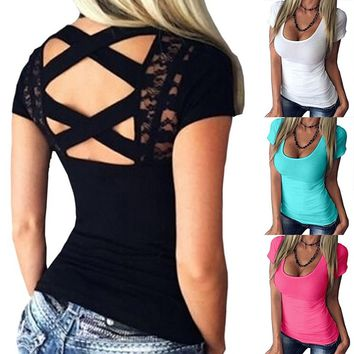 Women's Blouse Backless Lace Up Slim Tops Summer Fashion Shirts Plus Size