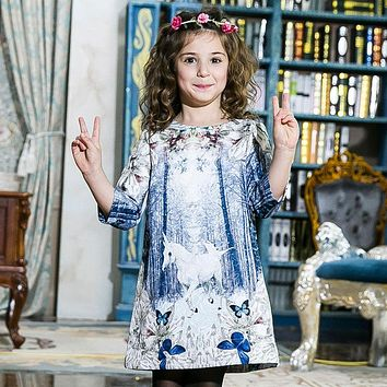 Girl Winter Butterfly Princess dress Infant party dress 2017 Unicorn Print Children Kids Dress for Girls Autumn Dresses