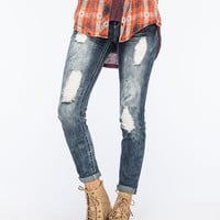 Almost Famous Premium Destroyed Womens Skinny Jeans Dark Blast  In Sizes