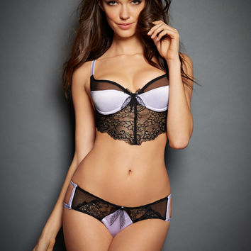 Violet Satin & Lace Bra Set