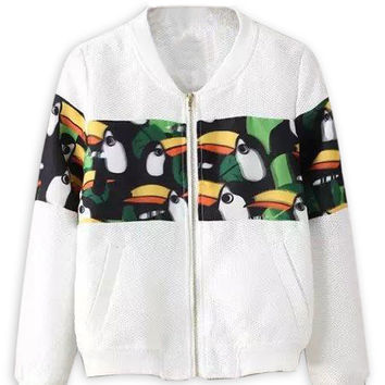 White Hole Detail Bird Print Bomber Jacket