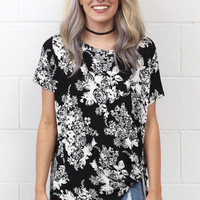 Floral Scroll Get Twisted Short Sleeve Top {Black Mix}