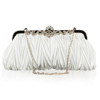 Bundle Monster Womens Vintage Satin Cocktail Party Handbag w/Shoulder Chain-WHITE