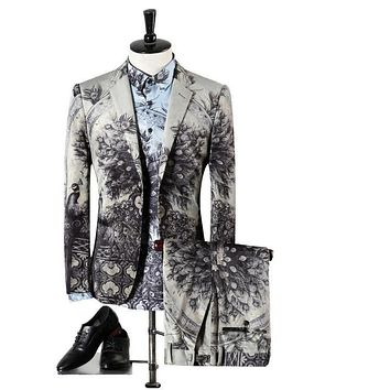 Men Wedding Suits High Quality Gray Tuxedos For Men Famous Peacock Printed Suits Designer Prom Suits