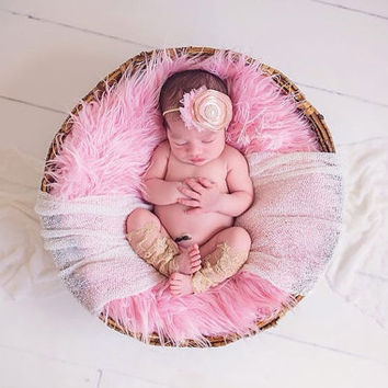 Vintage Beige and Pink Headband & Lace Baby Legs- Newborn, Photo Prop, handmade Flowers, baby girl, toddler, cream, birthday, cake smash