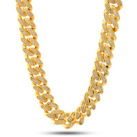 "18K Gold 18mm ""Studded"" Miami Cuban Curb Chain"