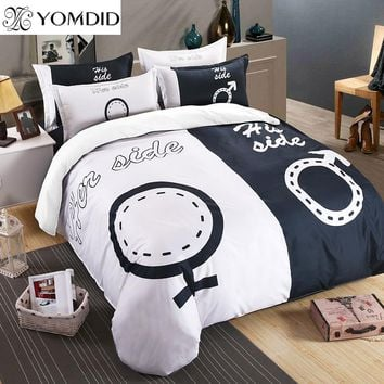 Black White series Bedding Set 3D printing 3/4PCS Bed linens for Couple Lover Duvet Cover Pillowcase Queen/ King Size Bedclothes