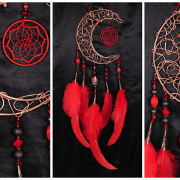 Red Dream Catcher Moon Dreamcatcher Copper Dream сatcher coral dreamcatcher boho dreamcatchers wall decor handmade gift idea Valentine's Day