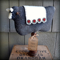 Black Sheep Makedo Primitive Home Decor Rustic Soft Sculpture Baa Baa Black Sheep On Vintage Beehive Textile Bobbin