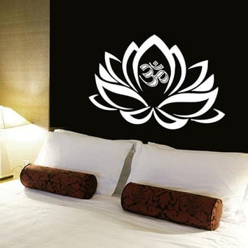 Lotus Flower Wall Decals Vinyl Sticker Decal Art Home Decor Mural Mandala Ornament Indian Geometric Moroccan Pattern Yoga Namaste Om AN361