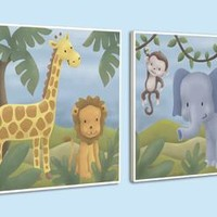 Happy Jungle Wood Wall Art (Set of 2) (1146) - Illuminada