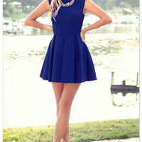 Royal Blue Sleeveless Skater Dress