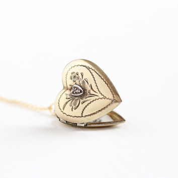 Vintage 12k Gold Filled Heart Diamond Locket Necklace - Mid Century 1940s WWII Era Sweetheart Love Engraved Flower Floral Etched Jewelry