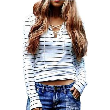 Striped T-shirt Women 2017 Plus Size Long Sleeve Lacing Up Women Casual Tops T Shirt Femme Autumn Spring camisetas mujer S-4XL