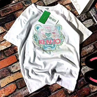 KENZO Unisex Fashion Embroider Tiger Head T-Shirt G-A-XYCL
