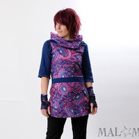 Blue galaxy tunic - Purple, pink, blue Jersey tunic in vintage jersey - ON SALE