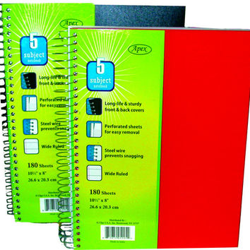 "plastic poly note book - 5 subject - 180 sheets - 10.5"" x 8"" Case of 24"