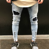 Blue Slim Ripped Holes Men Pants Fashion Jeans [10869556419]