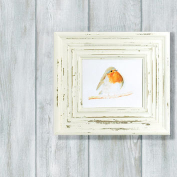 Original watercolor painting of red robin bird, for her room, nature fine art, bird card, gift for mother, home decor, small size artwork