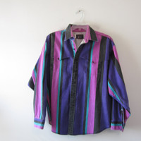 Vintage Striped Shirt Colorful Western Cowboy Shirt with Yoke  Mens XL Made in USA