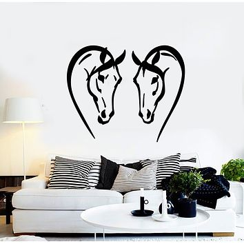 Vinyl Wall Decal Heads Horses Love Animal Farm Pets Stickers Mural (g762)
