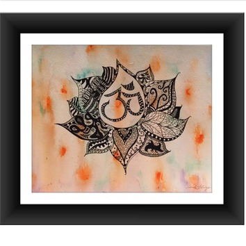 "Om & Lotus Flower Mixed Media - Watercolor, Pen and Ink Print 8"" x 10"", Home Decor Artwork - Yoga Inspired Original Hand Drawn Art"
