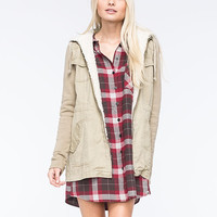 Others Follow Birch Twill Womens Jacket Khaki  In Sizes
