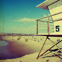 Beach decor, vintage beach, ocean beach, san diego, summer, sand, ocean, surf , beach art - Five, 8x8 photograph