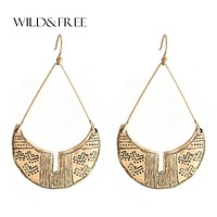 WILD & FREE Boho Style Alloy Geometric Dangle Earrings Antique Gold Silver Turkish Chandlier Statement Earring Jewelry For Women