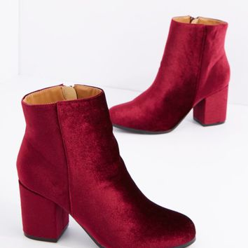 Burgundy Velvet Retro Heeled Bootie By Qupid | Booties | rue21