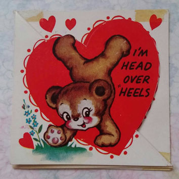 Vintage kitsch small Valentine's card with cute kitschy bear