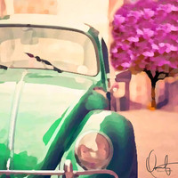 Vintage Beetle Art Print by Xchange Studio