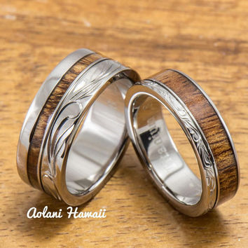 Titanium Wedding Ring Set with Hawaiian Koa Wood Inlay (6mm - 8mm Width, Flat Style)
