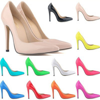 Red Bottom High Heels High Shoes Brand Pattern Leather Women Pumps Pointed Toe Woman Plus Size 35-41
