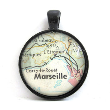 Marseille, France, Pendant from Vintage Map, in Glass Tile Circle