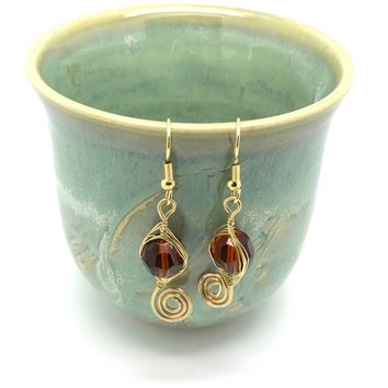 Brown Gold Drop Earrings, Small Unique Wire Wrapped Dangle, Gold Brown  Earrings, Brow Wire Wrapping Jewelry, Gold and Brown Earrings