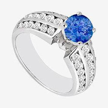 Natural Sapphire and Channel set Diamond Engagement Ring 1.10 Carat TGW  in 14K White Gold