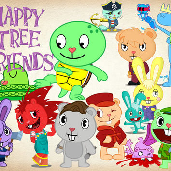 42 Happy Tree Friends Clipart PNG Digital Graphic Happy Tree Friends Clip Art Scrapbook Clipart Invitation INSTANT DOWNLOAD printable 300dpi