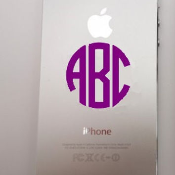Monogram Circle iPhone Decal - Monogram iPhone Case Sticker