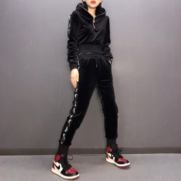 """Nike"" Women Fashion Velvet Letter Logo Webbing Long Sleeve Zip Hoodie Trousers Set Two-Piece Sportswear"